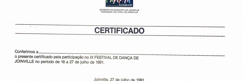 Certificado Participação 9º Festival De Dança De Joinville